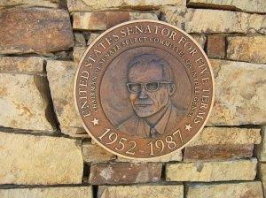 Bronze medallion at Barry Goldwater Memorial commemorates senatorial achievements