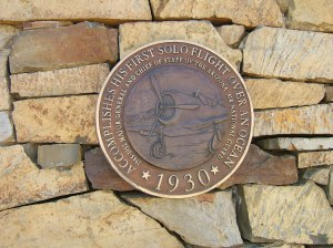 Bronze medallion at Barry Goldwater Memorial commemorates first ocean solo flight