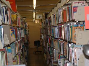 Friends' warehouse contains shelves of books.