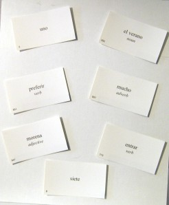 Learn five to seven new Spanish words per day with flash cards.