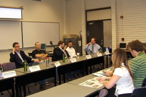 Tim Vetscher, ABC15; Mike Rynearson, photo editor and photographer; Nick Martin, HeatCity.org; Dennis Welch, Arizona Guardian; and Le Templar, East Valley Tribune prepare to speak at Mesa Community College Journalism Editors Conference.