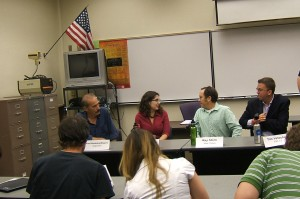 Paul Brinkley-Rogers, reporter; Valeria Fernandez, NPR freelance reporter; Ray Stern, New Times; and Tim Vetscher, ABC15 chat after the panel discussion at Mesa Community College Journalism Editors Conference.