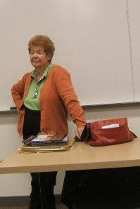 Sallie Christopher answers questions during her class at Paradise Valley Community College.