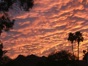 On Dec. 9, 2009, these coral, cascading clouds surprised and delighted local sunrise spectators.