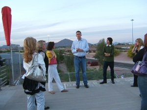 Tim Vetscher talks to PVCC students and answers their questions on the ABC15 helipad.