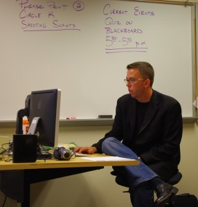 Tim Vetscher prepares to teach PVCC students JRN212.