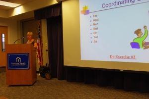 English faculty Stephanie Polliard teaches the first workshop on comma rules.