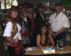 Pirates from the DREAD Fleet showed up at a Velma Teague Library event to support author J.J.M.Czep.